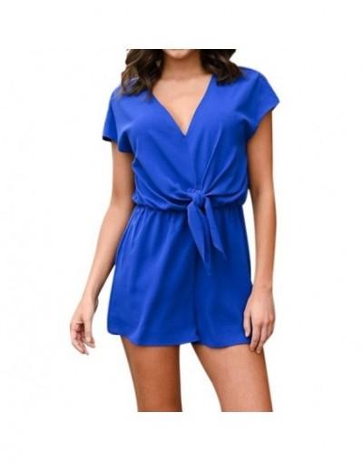Women bodysuit rompers womens jumpsuit Casual Short jumpsuit womenSleeve Belted Keyhole Back One Jumpsuit Romper - Blue - 33...