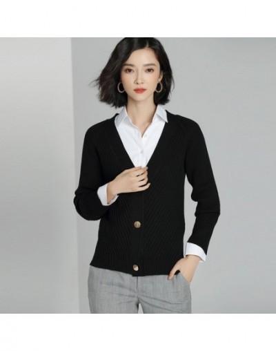 Women Cardigan Sweater 2018 Autumn Winter Cashmere Sweater Casual Single Breasted Cardigans Soft Outwear kz458 - black - 4B3...