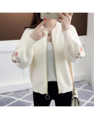 of new fund of 2019 autumn outfit embroidered with a han edition zipper sweater knit cardigan loose women's female - W - 4K3...