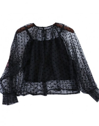 Women Two Piece Set 2019 Lace Bottom Shirt Female Long Sleeves Sexy Perspective Wave Point O-neck Shirt Solid Tank - black -...