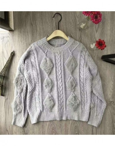 Hairy Fur Patchwork Women Sweater Solid Knitted Female Pullover 2019 Autumn Winter New Flare Sleeves Sueter Mujer 69373 - gr...