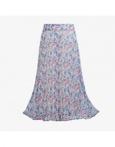 Chic summer broken flower pleated skirt women's MIDI skirt - 4N3072535858