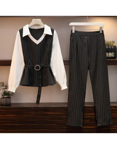2019 New Striped two piece set top and pants Set plus size lounge wear autumn clothes for women korean style - Black - 54111...