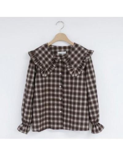 2019 Spring Autumn Basic Shirts Blouses Women Japan Preppy Style Design Ruffled Tops Ruffled Peter Pan Collar Plaid Button S...