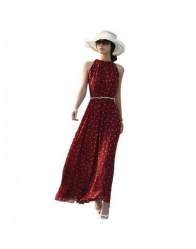 Women Sexy Summer Dot Dress Boho Long Maxi Chiffon Dress Sleeveless Polka Dress Cute Sasha - picture show - 4O3945982557-2