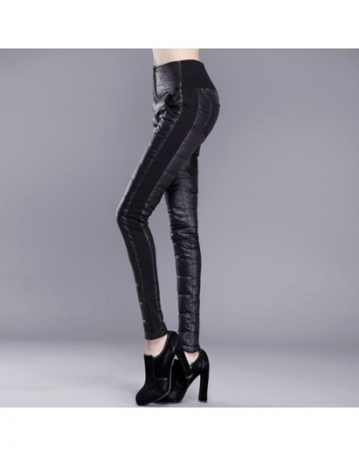 Women's Pants Trousers Winter High Waisted Outer Wear Female Fashion Slim Warm Thick Duck Down Pants Trousers Skinny - Black...