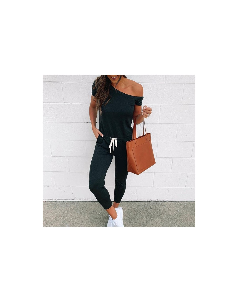 Women's Off Shoulder Jumpsuit Short Sleeve Overalls Lace Up Black Solid Ankle Length Jumpsuits Women 2019 Summer Casual Romp...
