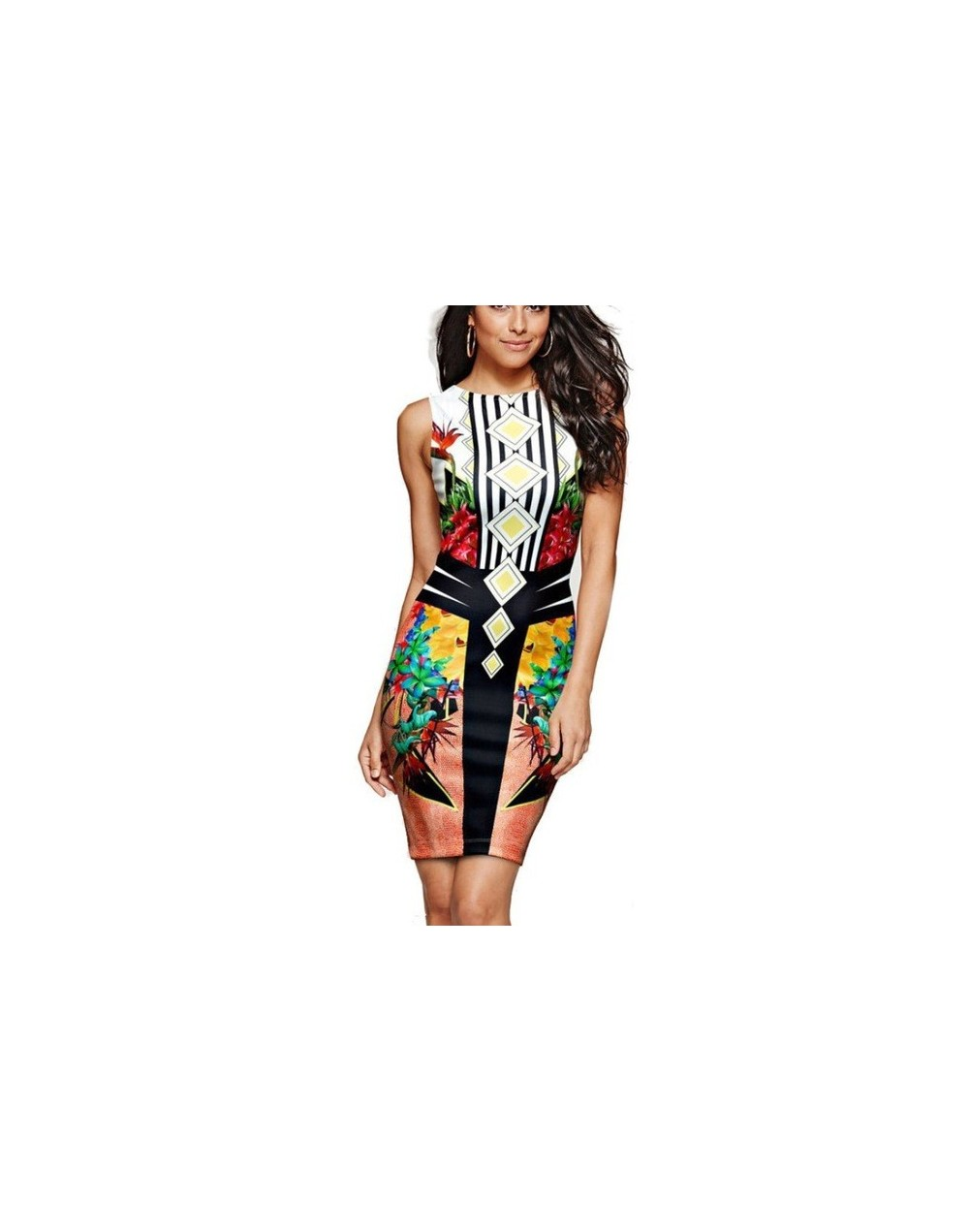 3XL Plus Size Women Office Lady Dress Casual Sleeveless O-Neck Print Dresses Summer Sexy Slim Bodycon Package Hip Dress Vese...