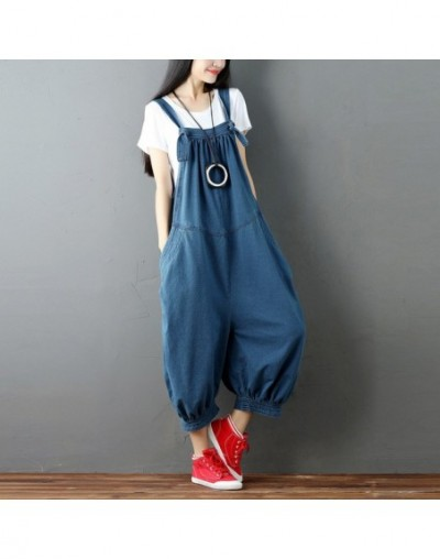 Casual Solid Color Sleeveless Denim Ankle-Length Jumpsuits 2019 Summer Loose High Waist Irregular Women Jumpsuits - Blue - 4...