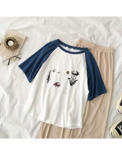 Summer Two Piece Set Women Fashion Casual Flower Patchwork T-shirt + Khaki Long Wide Leg Trousers Pant Set Suit Summer Set -...