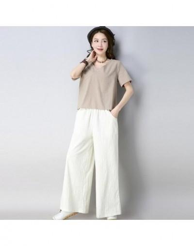 Cotton Linen Two-pieces set summer Women Clothing 2018 New Women Casual Elegant Tops+Wide Leg long Pant Suit XXL - Khaki - 4...