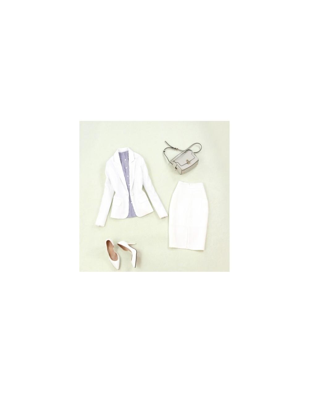 Women's suits 2019 summer new women's large size single buckle white small suit jacket Slim bag hip split skirt two-piece su...