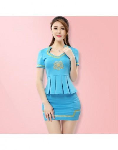 Women suits Slim summer V-neck Short sleeve Blazers skirt 2 pieces set Sexy Women skirt suits Women set suits 2291 - Sky Blu...