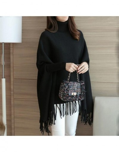 Cashmere Sweater Women Cloak Style Long Sleeve Flmale Clothing Loose Casual Batwing Sleeve Comfortable Pullovers LJ0730 - Bl...
