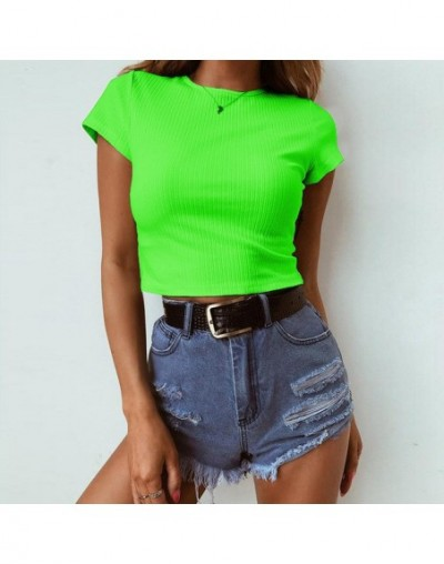 Neon Green Short Sleeve T Shirt Women O Neck Casual Red Ribbed Cropped Top 2019 Summer Black Short Tank Top Female - Neon Gr...