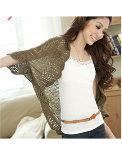 Candy color Batwing Crochet Lace Open Stitch Knitted Cardigan Sweater Small Thin Cape Outerwear Loose Shrugs For Women - Whi...