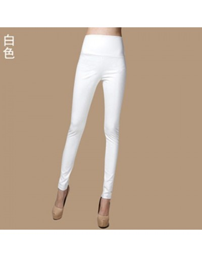 Autumn Winter Women Thin Velvet PU Leather Pants Female Sexy Elastic Stretch Faux Leather Skinny Pencil Pant Women Tight Tro...