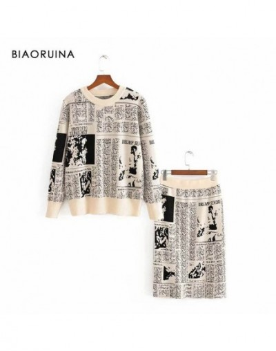 Women's Newspaper Jacquard Casual Knit Two Pieces Set Cartoon Basic Sweater Pullover + Fashion Straight Knit Skirt - Black -...