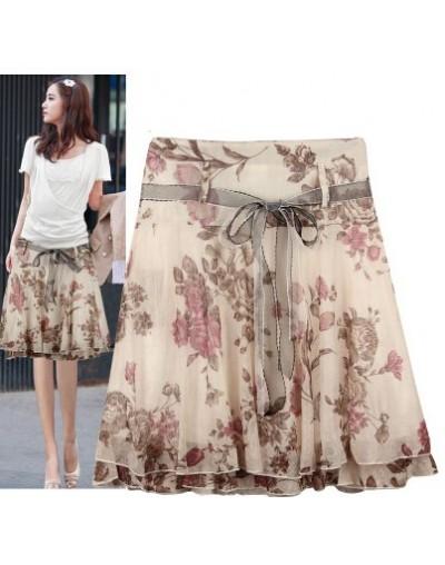 New Brand 2019 Summer Women Floral Skirt High Waist Midi Skirt Gentlewomen Ruffle Print Casual Skirts Women Saias Femininas ...
