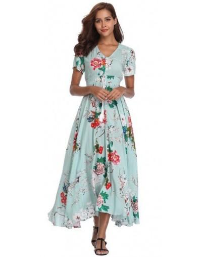 2018 Long Summer Floral Maxi Dress Women Flower Print Casual Split Beach Dress Ladies Elegant Cotton Vintage Boho Party Dres...