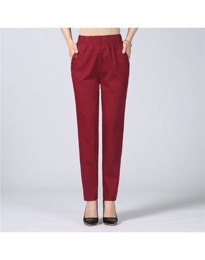 Women's Trousers Spring Summer Autumn Stretch Waist Cotton Feet Pants Middle And old Ladies Large size Solid Casual Pants 5X...