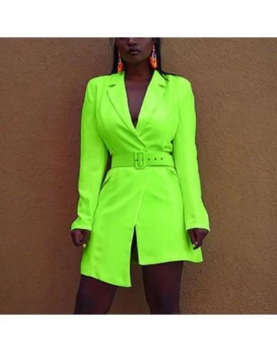 Casual high street elegant solid belt mini dress with belt autumn fashion women's V-neck long sleeve - Neon Color - 50111259...