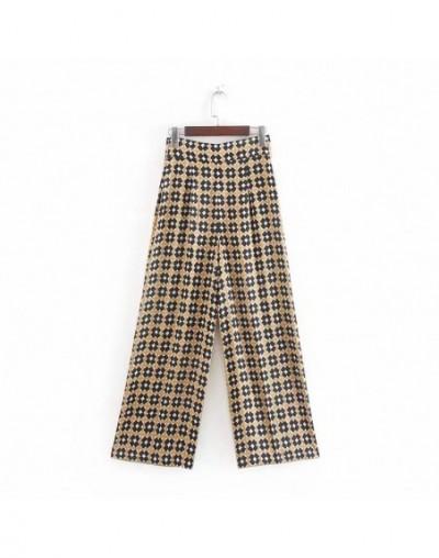 women elegent wide leg pants side zipper female casual vintage chic long trousers summer pantalones mujer - 5T111164350060