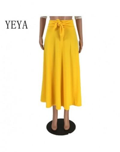 High Waist Korean Style Flowy Casual Skirt Summer Elegant Pockets Ankle-length Red Yellow Orange Skirt Female Mujer Verano -...