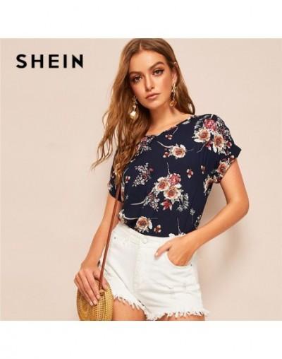 Lady Casual Navy V Neck Floral Blouse Women Summer Roll Up Sleeve Curve Hem Streetwear Short Sleeve Blouses Ladies Tops - 4B...