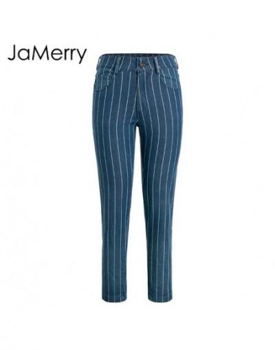 Sexy stripe denim women zipper pants Fashion pocket blue jeans women Casual streetwaer skinny slim spring trousers 2019 - da...