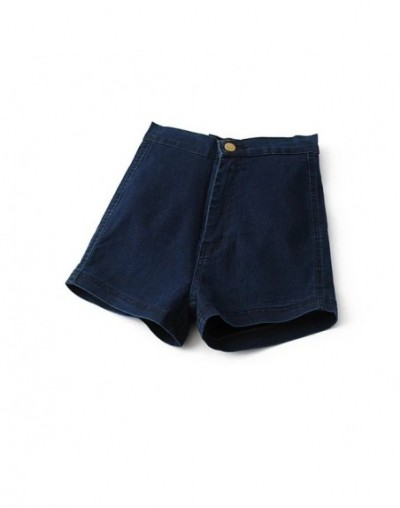 Women Vintage Apparel Slim Bottom Tight-fitting High Waist Shorts Sexy Denim Shorts - dark blue - 483683078357-2