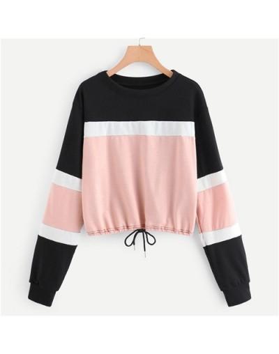 Color Block Drawstring Hem Sweatshirt Women Clothing 2019 Autumn Fashion Casual Long Sleeve Woman Clothes Pullover - Multi -...