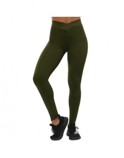 V-Waist Fitness Leggings Fashion Women Workout Legging Solid Slim Sporting Jeggings Plus Size Female Push Up Leggings - Army...