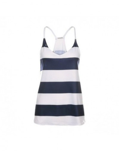 Women Striped Camis Top Sexy V-Neck Sling Sleeveless Ladies Loose Comfortable Top for Streetwear - Multi - 414125457722