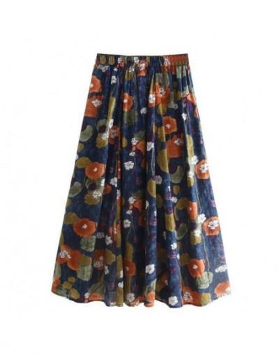 Elegant Womens Floral Cotton Linen Long Skirt Ladies Elastic Waist A-line Pleated Maxi Skirts Faldas Mujer Moda 2019 - Photo...