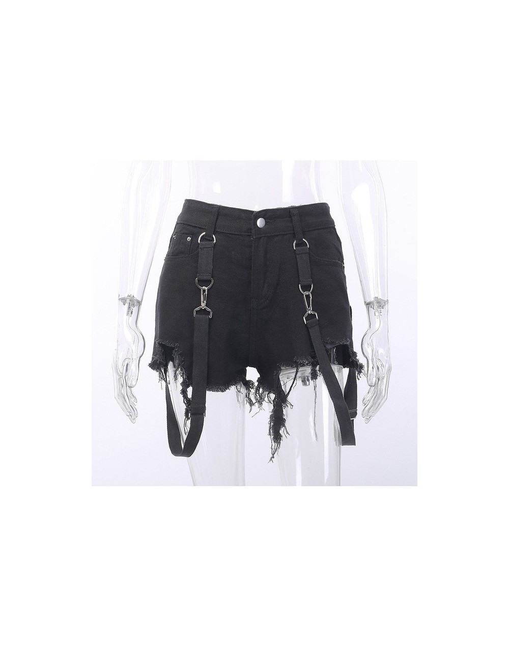 High Waist Hole Jeans Shorts Women Summer Harajuku Gothic Streetwear Shorts Black Fashion Punk Strap Shorts for Girls - Shor...