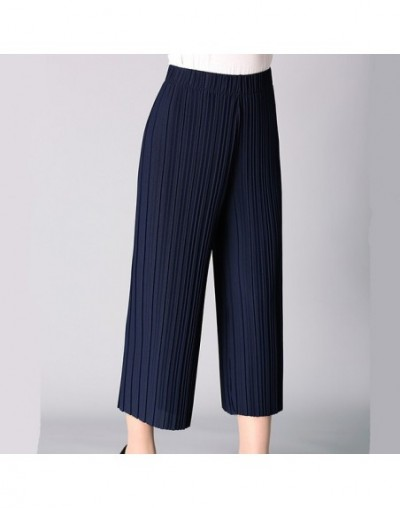 Women Summer Wide leg Pants Casual Solid Chiffon Thin High wiast Calf-length Loose Pleated pants plus size XL-4XL - Navy - 4...
