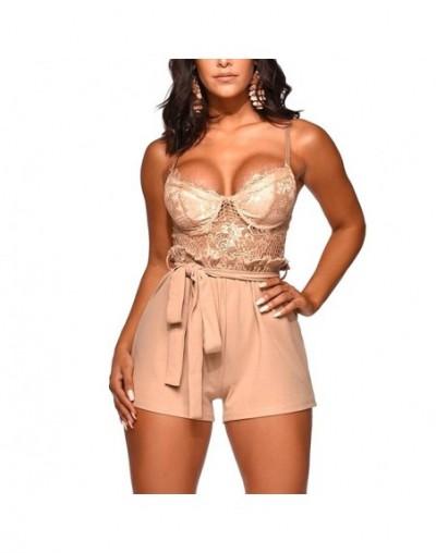 Women Lace Spaghetti Strap Back Zipper Short Jumpsuit Playsuits for Summer JS24 - Pink - 4000088035014