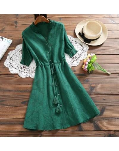 Mori Girl Sweet Dress 2018 New Summer V-Neck Vestidos Women's Short-Sleeved Cotton and Linen Dresses BluePinkGreen S-XL - Gr...