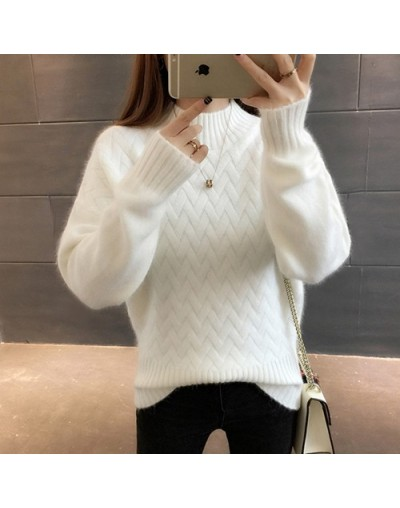 Thick Warm Turtleneck Sweater Female 2019 Winter Long Sleeve Jumper Women Sweaters And Pullovers Pull Femme White Yellow - W...
