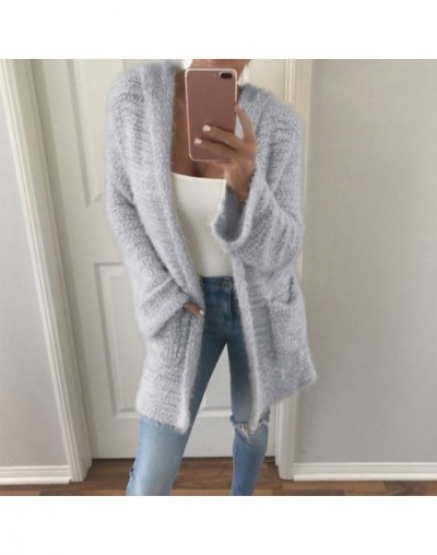 Autumn Women Loose Sweater Cardigan Outwear With Pocket Warm Femme Open Stitch Casual Long Knitted Hooded Sweater - Gray - 4...