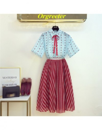 Women's Mid Skirt Suits Animal print Ribbons Bow Chiffon Shirts+Elastic Waist Bright silk Stripes Skirts Chic Casual Suits -...