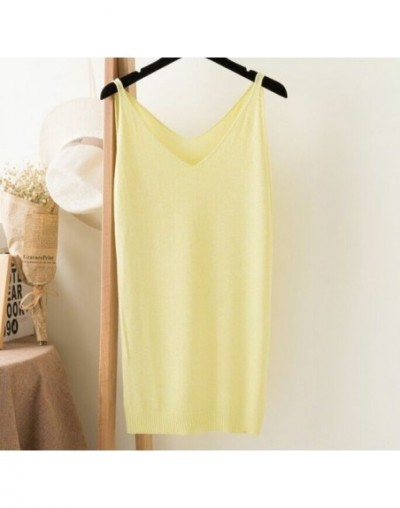 Summer Women Fashion Slim Knitting Long Tank Tops Female Camisole Sleeveless Tee shirts With Shinning Rayon Knitted ZY0382 -...