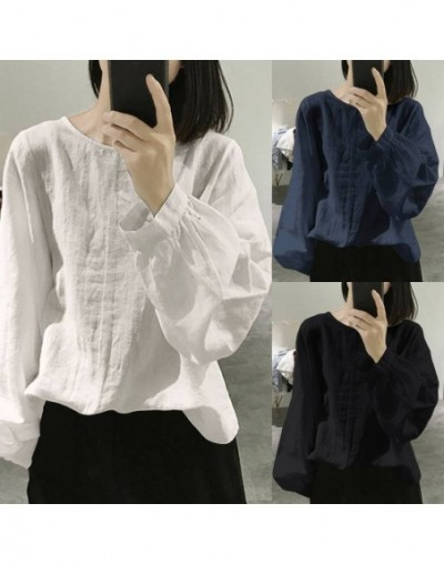 Vintage Women's Blouse 2019 Autumn Long Sleeve Shirt Casual Loose Tunic Tops Solid Pleated Blusas Femininas Plus Size 5XL - ...