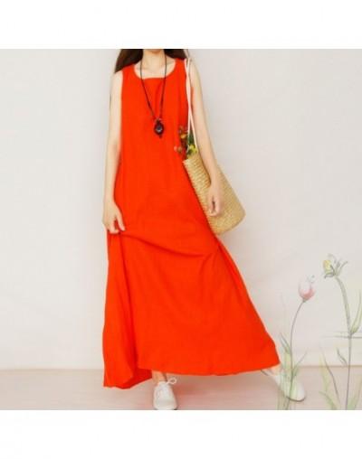 Summer Cotton Loose Dress Plus Size Women Linen Solid Sleeveless Vest Sundress Female Sweet New Beach New Dresses aa610 - Ph...
