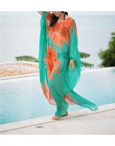 2019 Colorful Bohemian Printed V-Neck Cape Sleeve Loose Summer Beach Dress Chiffon Tunic Women Beachwear Long Robe de plage ...