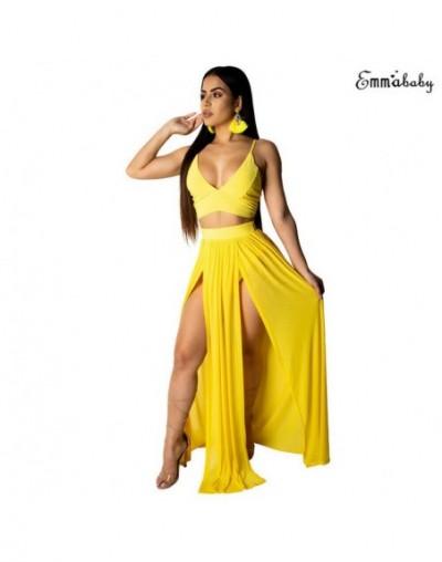 Women Dress 2019 Summer Beach Deep V Party Dress Maxi Long Skirt Crop Top Two Piece Set Club Party Wear Beach Sunsuit Plus S...