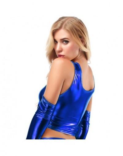 Women Pu Metallic Leather Halter Lace Up High Waist Bikini Tank Crop Top Bra Tunic Shirt Latex Wetlook Summer Beach Holiday ...
