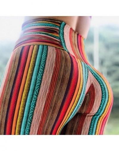 2019 sexy leggins high waist legging push upColor stripe Slimming Slim fit breeches for sports wear for women gym leggings -...