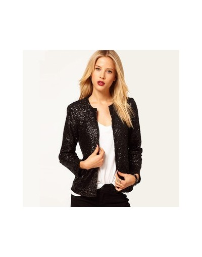 Chic Sequined Blazers Long-sleeved Beading Jacket with Covered Buckle O-Neck Woman Mini Suits Stage Show Cardigan Tops - Bla...